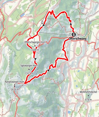 Karte / Rundwanderung von Ofterschwang über Ofterschwanger Horn und Sigiswang