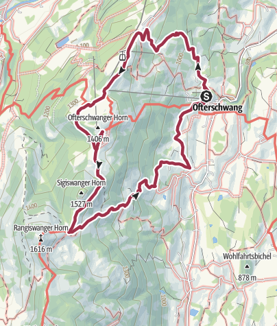 Map / Hiking trail from Ofterschwang via Ofterschwanger Horn and Sigiswang