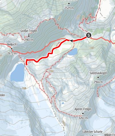 Karte / WildeWasserWeg - Etappe 3: Sulzenau Hütte - Sulzenauferner (Gletschertor)