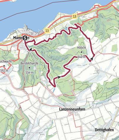 地图 / Hegau: Thurgauer Seerücken: Von Mammern über Schloss Liebenfels zur Ruine Neuburg
