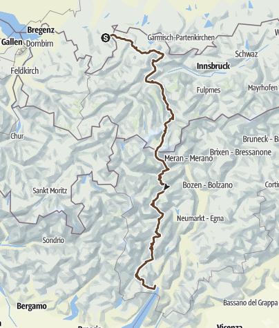מפה / Von Bad Hindelang an den Gardasee über den Tiefenbachferner, die Similaun-Hütte, das Rabbijoch und durch das Val Agola