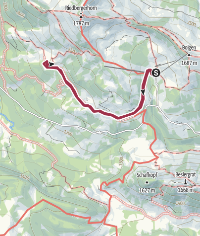 Karte / Von der Grasgehrenhütte zur Mittelalpe