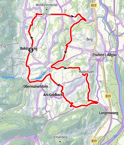 Karte / Drei-Dörfer-Radrunde bei Bolsterlang, Obermaiselstein und Fischen