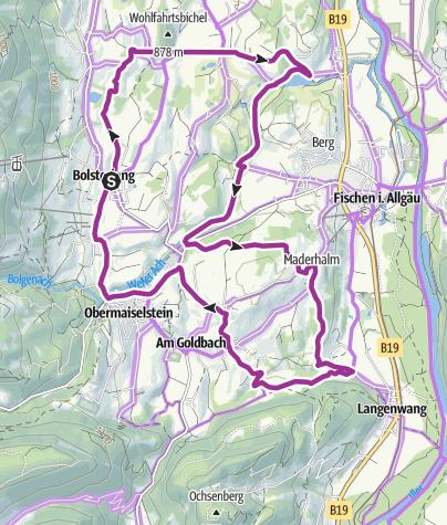 Map / Drei-Dörfer-Radrunde bei Bolsterlang, Obermaiselstein und Fischen