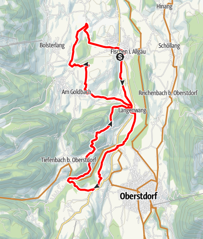 Karte / Radtour ab Fischen zum Jägersberg