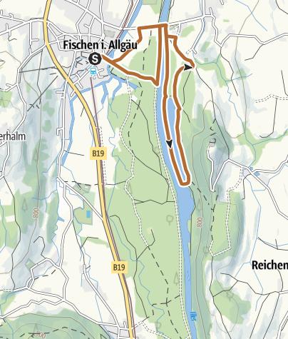 Karte / Auwaldsee Nordic-Walking Runde bei Fischen