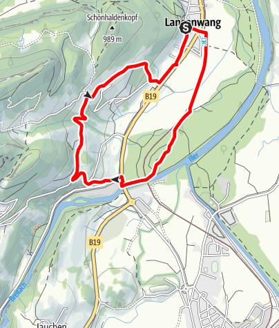 Karte / Nordic-Walking-Runde in Langenwang bei Fischen