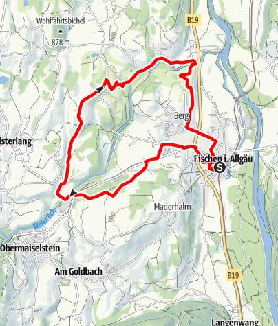 Karte / Hörnerdörfer-Ausdauer Nordic Walking Runde ab Fischen