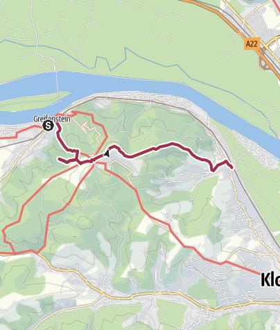 Karte / von Greifenstein über die Tempelbergwarte nach Kritzendorf
