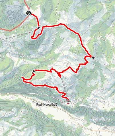 Karte / Tal- und Gipfeltour - Abschnitt Illgau