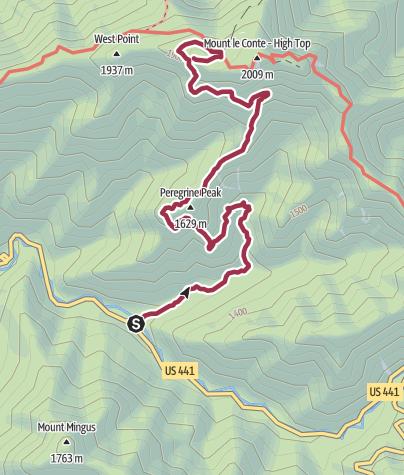 Map / LE CONTE VIA ALUM CAVE TRAIL