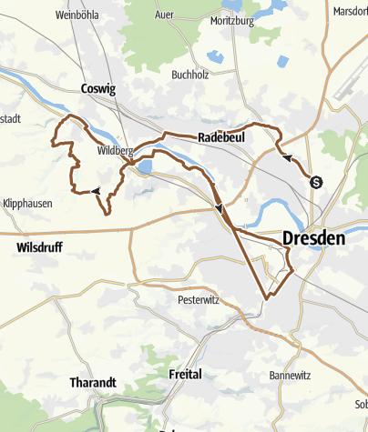 Karte / Trails um Niederwartha - Tännichgrund
