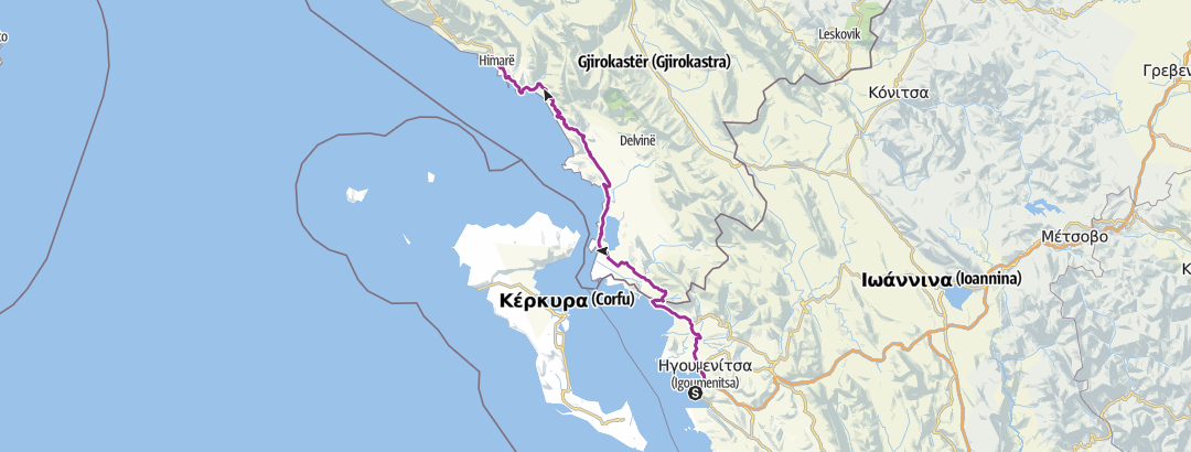Map / Camping Kalami to Ksamil/Himare