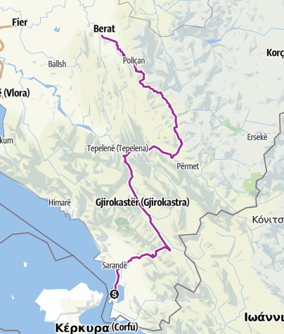 Mapa / Ksamil Camping to Berat