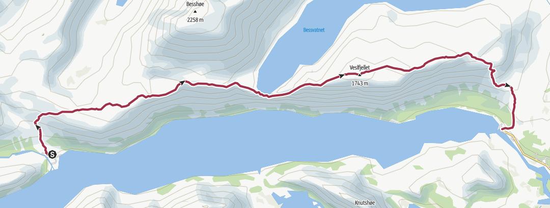 Mapa / Memurubu to Gjendesheim via Besseggen