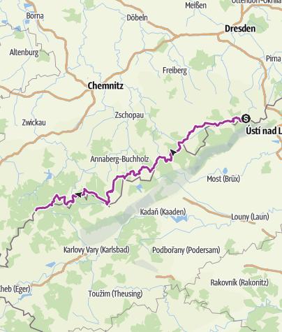 Karte / Kammtour - Radtour auf dem Kammweg Erzgebirge/Vogtland (Sachsen)