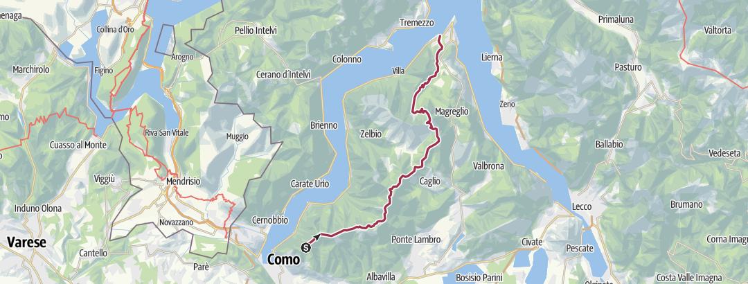 Mapa / BRUNATE CAO to BELLAGGIO