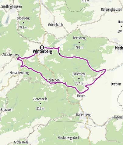 Karte / W3 Drei Täler Rundweg, Start und Ziel in Winterberg
