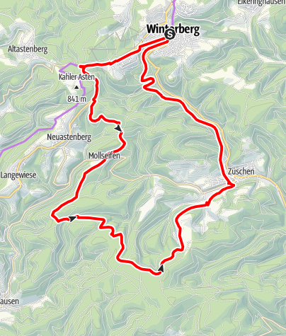 Karte / W4 Ziegenhellenradrundweg, Start und Ziel in Winterberg