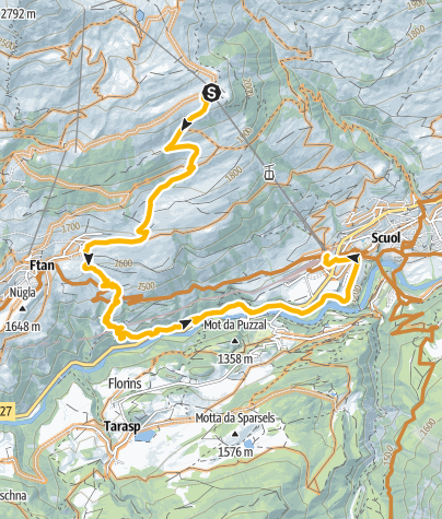 Map / Abfahrt Motta Naluns – Salez – Ftan – Baraigla – Nairs
