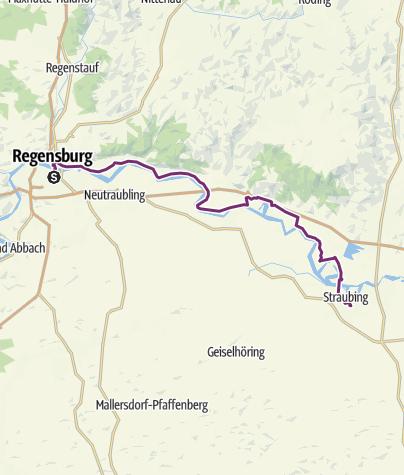 Karte / Schleifenroute DE Regensburg - Straubing Etappe 98