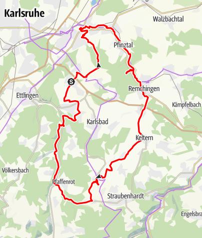 Karte / Radtour zur Pfinzquelle große Runde