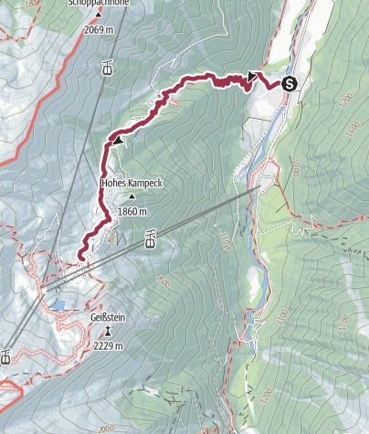 Map / Hike to the Salzburger hut (1,879 m)