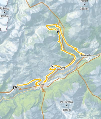 Karte / 442.02: Regionale Bikeroute Engiadina Bassa 2. Etappe Ftan - Ramosch