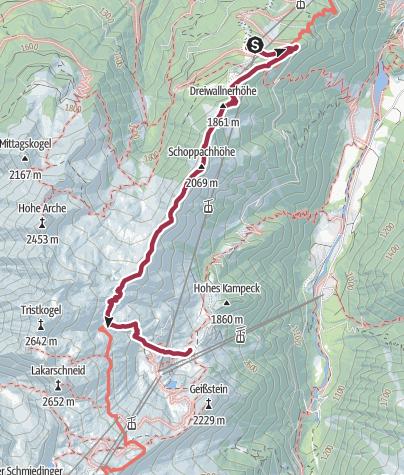 Map / Hike to the Salzburger hut (Alexander Enzingerweg)