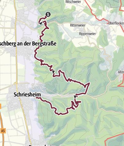 Karte / Burgensteig Etappe 7 Hirschberg-Großsachsen - Schriesheim