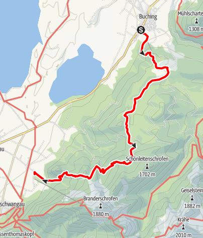 Karte / Vitaltour 19: Tour Buching-Naturschutzgebiet Ammergebirge-Schwangau