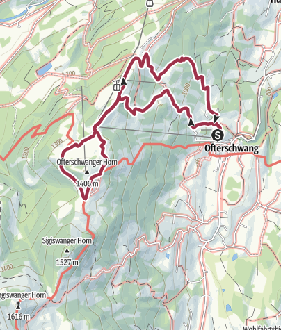 Map / Mountain hike from Ofterschwang to the Ofterschwanger Horn