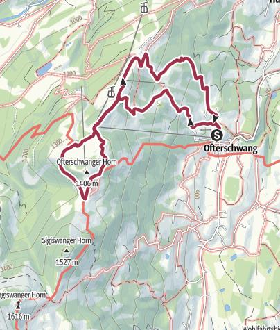 Map / Mountain hike from Ofterschwang to the Ofterschwanger Horn
