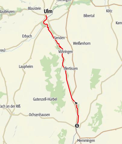 Karte / Illerradweg Etappe Heimertingen-Ulm