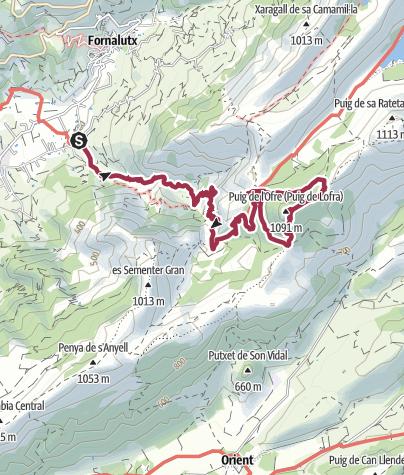 Carte / Biniaraix > Puig de l'Offre > chemin des Maures.