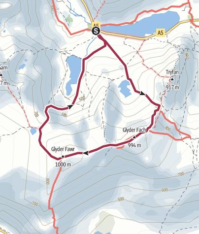 Map / The Glyders via Bristly Ridge