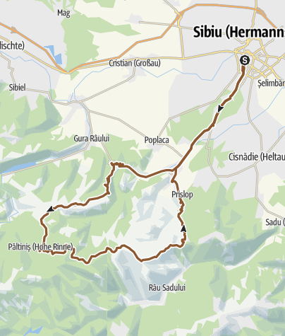 Map / Sibiu - Paltinis-onroad- Sibiu-offroad