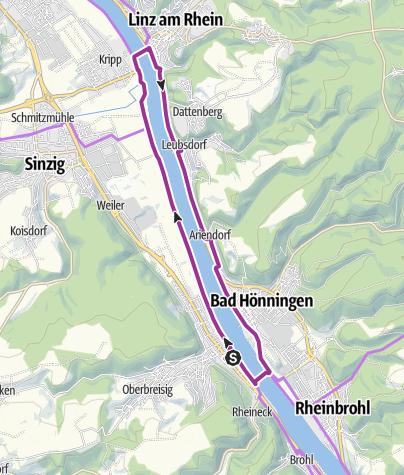 Karte / Rad und Fährentour Bad Breisig - Linz