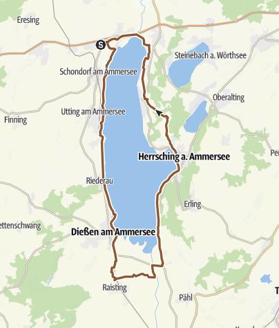 Karte / Rund um den Ammersee ohne Hauptstraßen