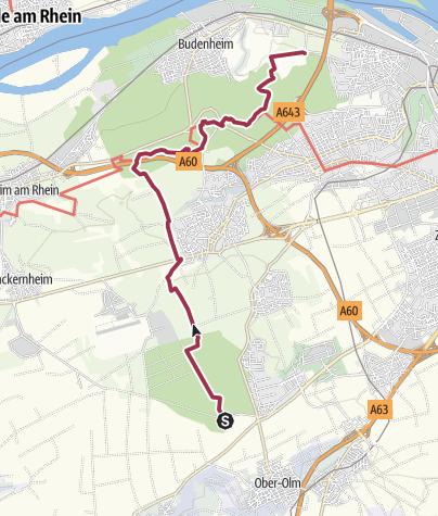 Karte / Kleiner Mainzer Höhenweg Etappe 3:  Forsthaus Ober-Olm - Gonsenheim Waldfriedhof