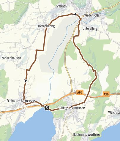 Karte / Runde von Stegen über Grafrath und Eching