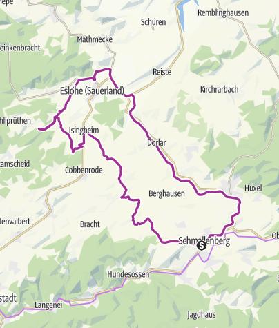 Karte / Die Kurzvariante des SauerlandRadring- 54km