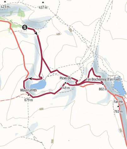 Map / Llyn y Fan Fach and Black Mountain peaks