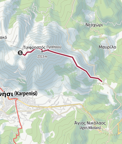 Map / Refuge- high summit- koubi - ag Apostoloi