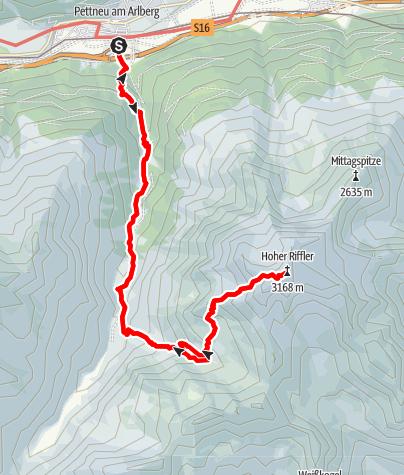 Karte / Hoher Riffler (3168m) über Karl-Handl-Steig von Pettneu am Arlberg