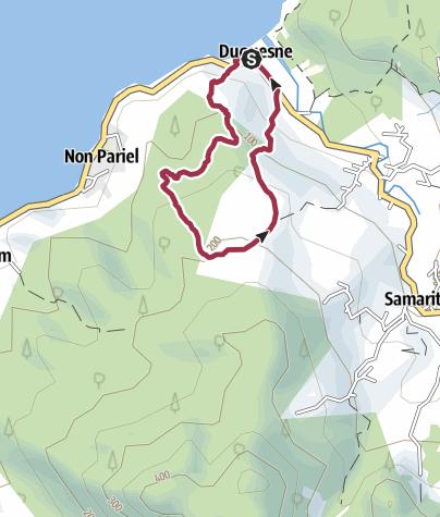 Map / Long walkers from Bev's Bar, Duquense