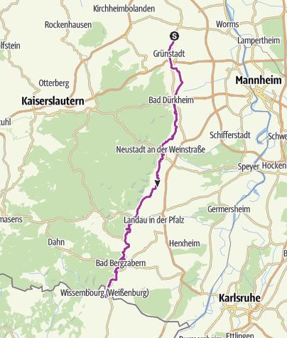 Karte / Radweg Deutsche Weinstraße