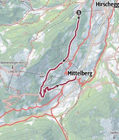 Karte / Oberer Höhenweg Hirschegg-Mittelberg