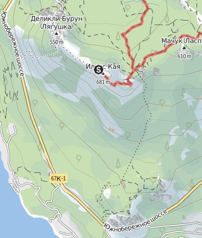 Map / Climbing to the top of Ilyas-Kaya via E. ridge
