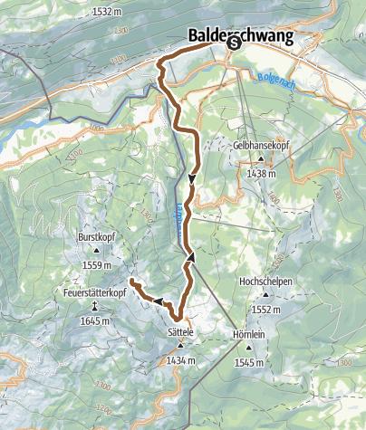Karte / Radtour Balderschwang - Burglhütte